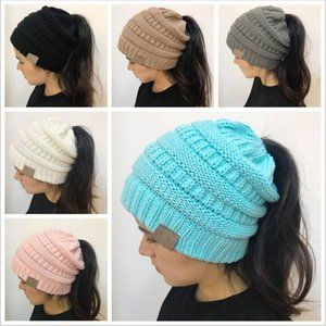 C.C Knitted Ponytail Beanies